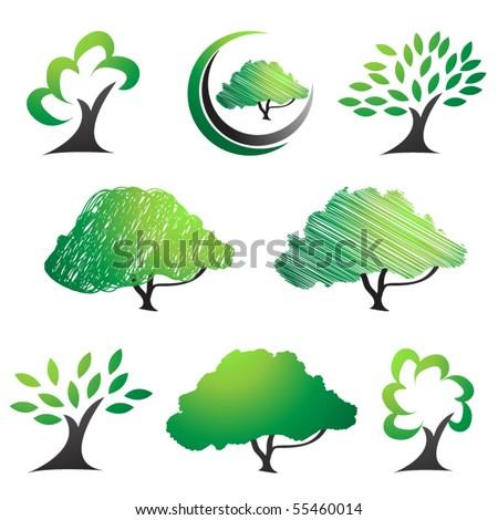 Tree symbols. Abstract tree silhouettes vector set.