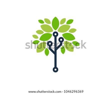 tree tech icon logo design