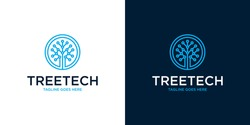 Tree Technology Network connection creative vector logo. Digital tree logotype concept. Cloud storage icon logo design template