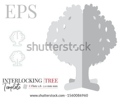 Tree template for laser cutting. Vector with die cut / laser cut lines. It can be use from interior design decor, Christmas decor, kids decor, wedding table, gifts. White, clear, blank, isolated