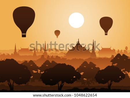 tree temple image of Buddha sculpture pagoda sea and balloon above,Myanmar,Thailand,vector illustration