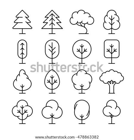 Tree thin line vector icons set. Collection of plant in linear style illustration