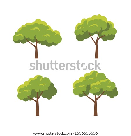 Tree Vector element design set with  modern, simple and trendy design