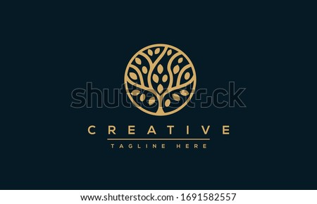 Tree vector icon. Nature trees vector illustration logo design.