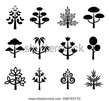 Cartoon Trees Vector Set