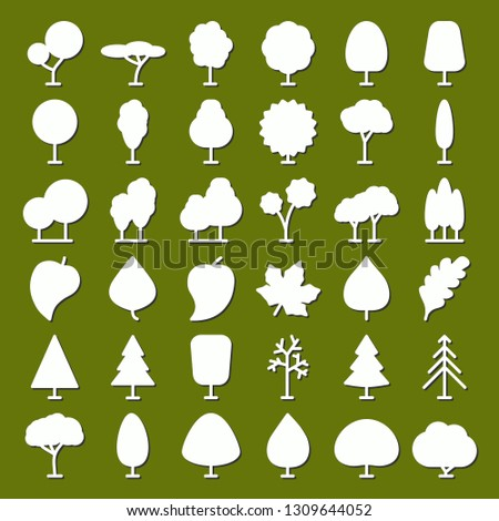 tree vector icons set for natural product store, garden, nature cosmetics, ecology company, naturally firm, organic shop, alternative medicine, green unity, farming. 10 eps #1309644052