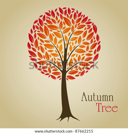 Tree vector illustration with red leafs. Nature symbol graphic design.