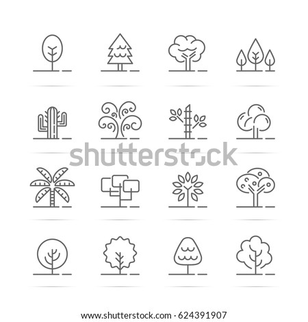 tree vector line icons, minimal pictogram design, editable stroke for any resolution