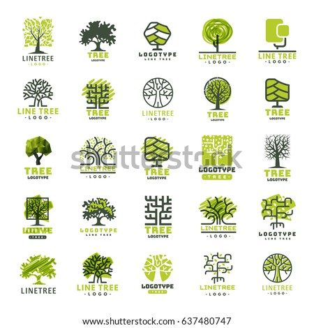 Tree vector logotype oak treetops isolated green forest badge logo branch silhouette collection illustration.