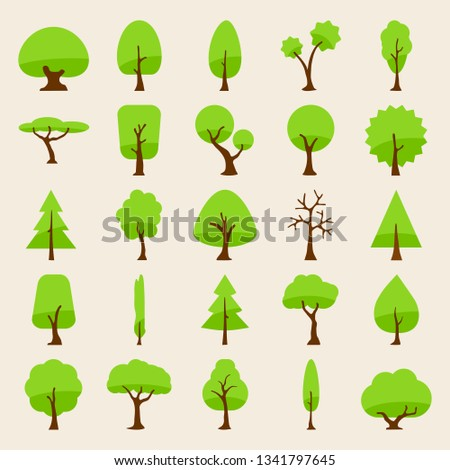 tree vector silhouette icons flat style for natural product store, garden, nature cosmetics, ecology company, naturally firm, organic shop, alternative medicine, green unity, farming. 10 eps #1341797645