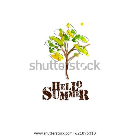 tree watercolor hello summer