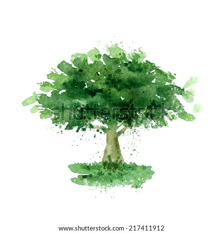 tree watercolor vector format