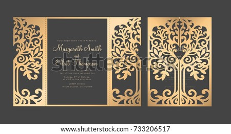 Shutterstock Tree wedding invitation template. Gate fold Laser cut design.