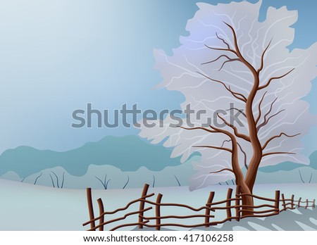 tree winter and fence landscape