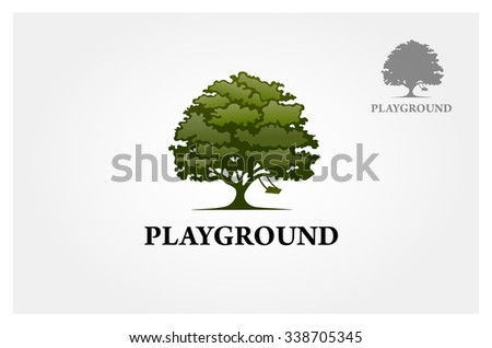 tree with a child play the swing under the tree, this logo symbolize a protection, peace,tranquility, growth, and care or concern to development