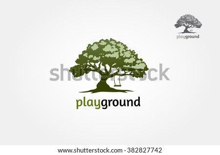 tree with a child play the swing under the tree, this logo symbolize a protection, peace,tranquility, growth, and care or concern to development, vector logo illustration