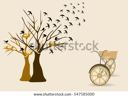 tree with birds flying out and