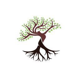 Tree with Body Women Logo Design Template.