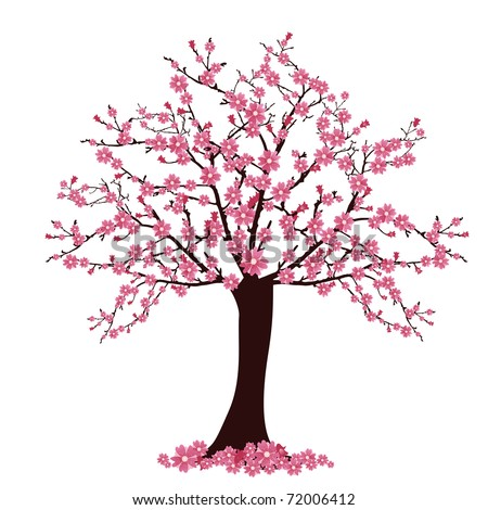 Tree With Cherry Blossoms Vector Ez Canvas