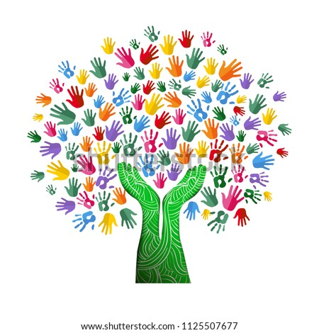 Tree with colorful human hands together in paper cut out style. Community team concept illustration for culture diversity, nature care or teamwork project. EPS10 vector.