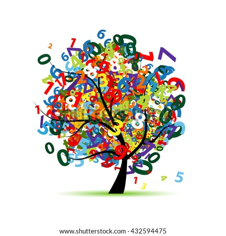 tree with colorful numbers for