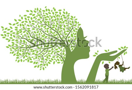 tree with female face holding