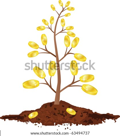 tree with golden coins, Isolated On White