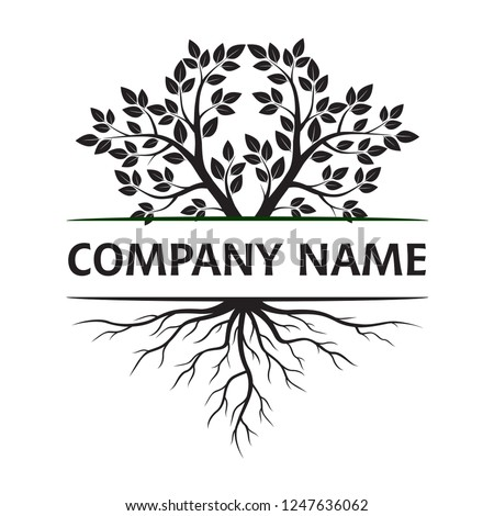 Tree with Leaves and Roots. Vector Illustration. Company name. Plant and Garden.