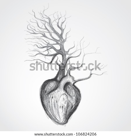 Tree with roots like heart / Surreal realistic sketch