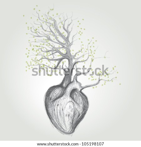Tree with roots like heart / Surreal vector sketch