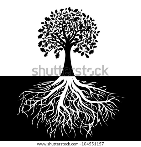 Tree with Roots on Black and white Background, vector - stock vector