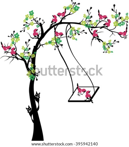 tree with swing and birds