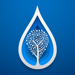 Tree within water drop shape. Paper art for the Earth Day decoration. Vector illustration of ecological idea. Concept design for cards, posters, flyers, stickers.