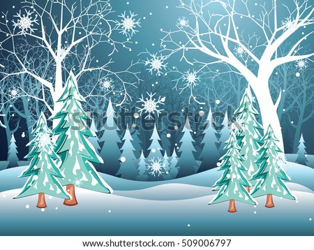 Tree without leaves in snowy forest, winter landscape.