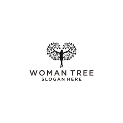 tree woman logo icon design vector