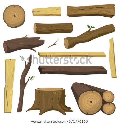Shutterstock Tree wood trunk vector set chopped firewood logs and wooden stump in forest isolated illustration.
