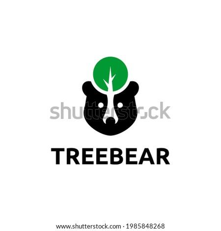 Treebear Logo Simple Negatif Space Stok fotoğraf ©