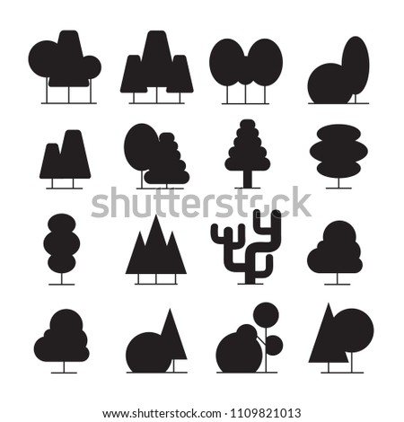 treee and plant icons silhouette