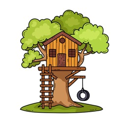 Treehouse vector illustration isolated background