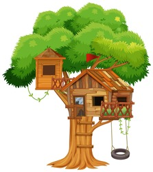 Treehouse with swing on the tree illustration