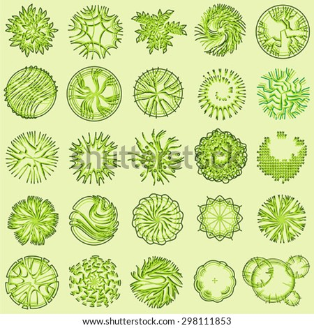 Trees And Bush Item Top View For Landscape Design Vector Icon 298111853