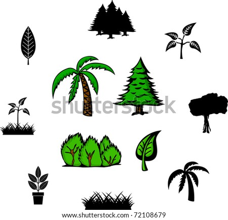 trees and plants illustrations and symbols set