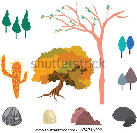 trees and stones vector set