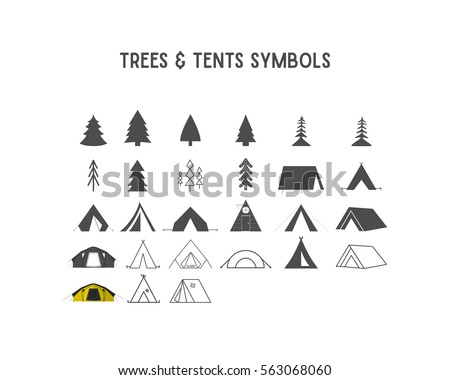 trees and tent vector shapes