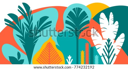 Trees are broad-leaved tropical, ferns. Flat style. Preservation of the environment, forests. Park, outdoor. Vector illustration.