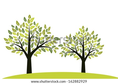Trees background with green foliage
