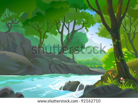 TREES BY RIVERSIDE HILLS AND ROCKS