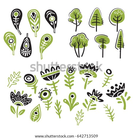 Trees, flowers and feathers icon set, bicolor print, ethnic style, clip art, isolated