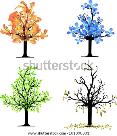 Autumn Season Drawing Trees Four Seasons Spring