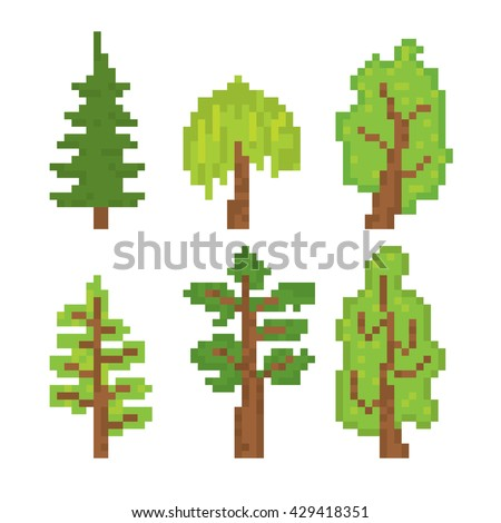 trees icons set pixel art old